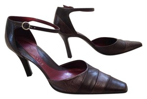 Gianni Bini Leather Ankle Strap Chocolate Brown Pumps