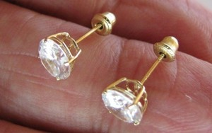 Solid 14k Yellow Round Gold 1.50 Ct Man Made Diamond Stud Earrings Screw Back