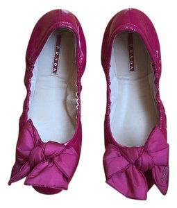Prada Hot Pink Leather Fuchsia Flats