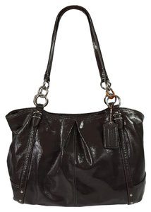 Coach Patent Leather Silver Hardware Alexadra Large Studded Tote in Dark Grey