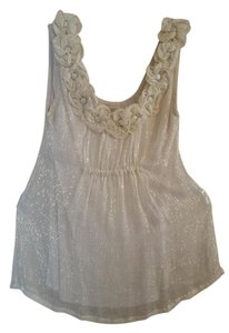 Anthropologie Top Beige/gold threads/sheer