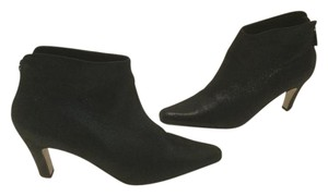 Sam & Libby Zippers Black shimmering leather ankle Boots