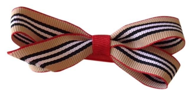 Item - Cream Red Black & White Burberry Offray Ribbon Hairbow Hair Accessory
