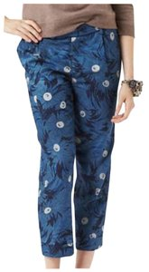 Anthropologie Floral Crop Pants Capris Blue