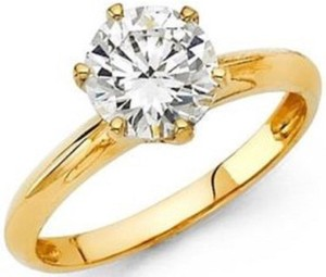 Yellow Gold 14k 1.50 Ct Man Made Diamond Size 5 6 7 8 9 10 Engagement Ring