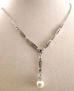 Charter Club Charter Club Silver Drop Pearl & Cubic Zirconia Formal Y Shape Formal Necklace - NWOT
