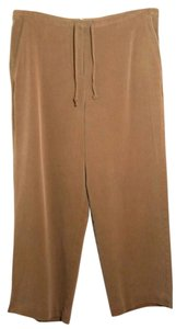 Tommy Bahama Silk Drawstring Casual Capris Relaxed Pants Brown