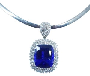 GORGEOUS CUSHION SHAPE STARBURST CUT TANZANITE PENDANT 46.5 CT. 4.02CT TOTAL DIAMOND IN HALO PENDANT SETTING 14KT WHITE GOLD