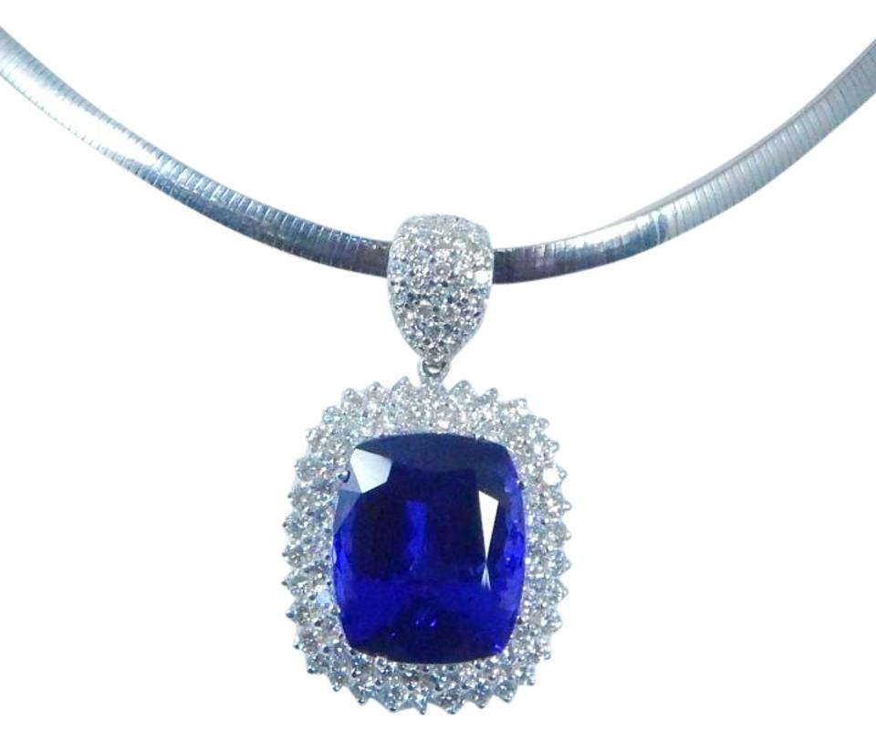 Tanzanite blue to violet to bluish purple cushion shape starburst other gorgeous cushion shape starburst cut tanzanite pendant 465 ct 402ct total diamond in aloadofball Images
