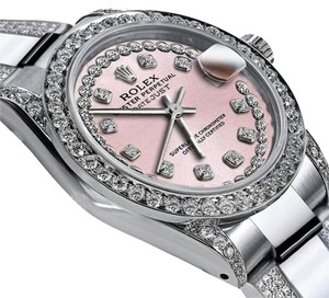 Rolex Women's 31mm s/s Oyster Perpetual Datejus Custom set Diamonds Pink
