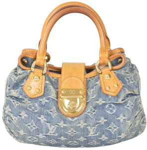 Louis Vuitton Monogram Denim Pleaty Lv Satchel in Blue