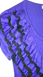 Green Envelope T Shirt purple with black lace