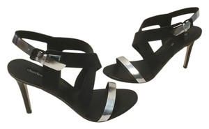 Charles David Stilettos Padded Insoles Ankle Straps Black & silver all leather Sandals