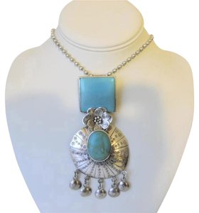 Other Vintage Multi-shape Sterling Silver & Turquoise Pendant
