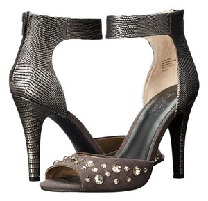 Seychelles Peep Toe Ankle Strap Grey/ Pewter Leather Pumps