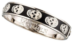 Alexander McQueen Alexander Mcqueen Black And White Enamel Bangle Bracelet