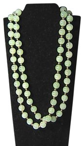 Vintage 14k Solid Yellow Gold Translucent Jade Bead Necklace