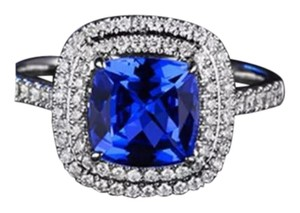 Other Stunning Double Halo Blue Sapphire White Gold Filled Engagement/Wedding/Cocktail Ring