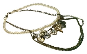 Vintage Inspired Antiqued Gold Charm Necklace Faux Pearls J617