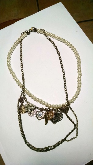 Other Vintage Inspired Antiqued Gold Charm Necklace Faux Pearls J617