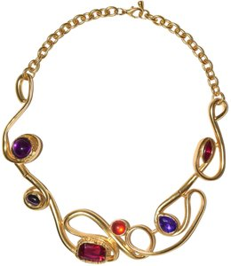 Other 24-kt Gold-Plated Pewter Gemstone Resin Elaborate Cut Collared Necklace