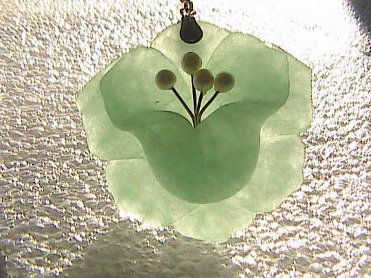 Vintage 14k Solid Yellow Gold Enhancer Flower and Pearl Jade Pendant