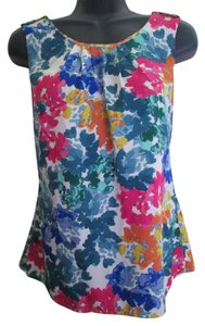 Banana Republic Watercolor Floral Summer Abstract Top Multicolored
