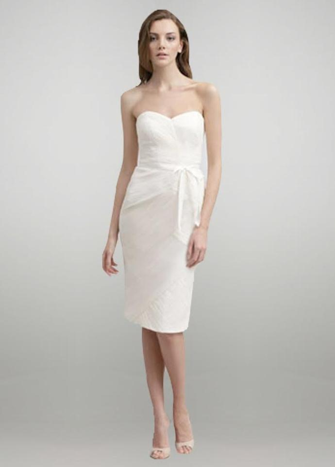 Monique Lhuillier Blush Satin Lining / Tulle Overlay Ruched Cocktail ...