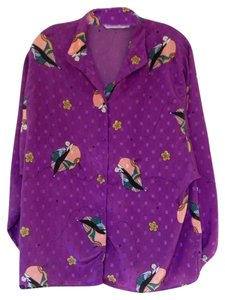 Diane von Furstenberg Art Deco Shirt Tunic Retro Button Down Shirt Purple