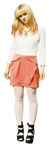 H&M Coral Bow Preppy Mini Skirt orange