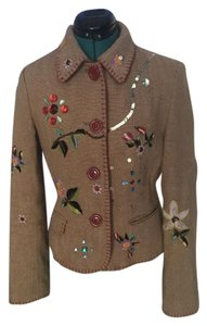 Zara #playful #oneofakind Camel/brown + Colorful Embellishments Blazer