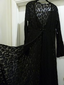 Black Maxi Dress by Claire Pettibone Lace Robe Nighty Night Gown Coverup Cover Up