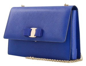 Salvatore Ferragamo Ginny Royal Chain Royal Blue Clutch