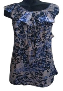 CAbi Animal Print Ruffled Top Blue & White