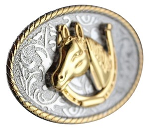 Belt Buckle Men Women Silver Oval Metal Cowboy 3D Rodeo Gold Horse Shoe Western