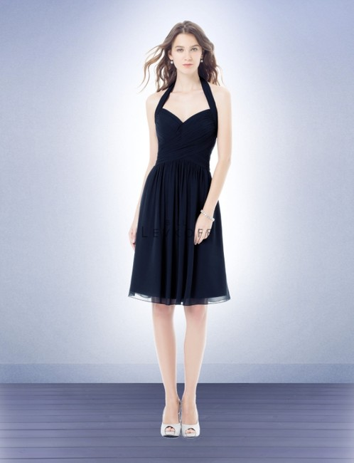 Item - Navy Chiffon Style 398 Formal Bridesmaid/Mob Dress Size Petite 6 (S)