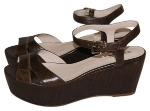 Giorgio Armani Leather Platform Brown Sandals