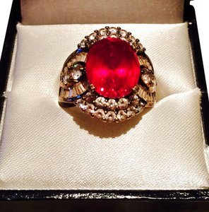 Victoria's Bridal Collection Beautiful Absolute Genuine Gemstone And 14K Gold & Sterling Ring In Size 5