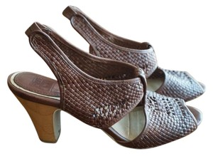 Frye Woven Peep Toe Sandal Brown Sandals