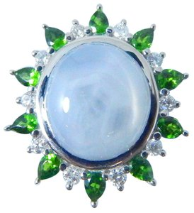 Other STUNNING SHAPE STARBURST CUT STAR SAPPHIRE RING 28.64 CT. 1.0 CT (TOTAL) TSAVORITE AND 0.55 (TOTAL) DIAMOND IN HALO SETTING 14KT WHITE GOLD