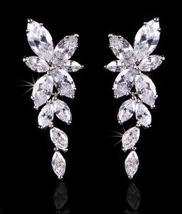 Bridal Cz Cluster Earrings Pierced Rhodium Plated