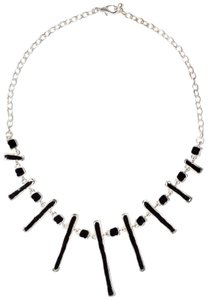 Abstract Short Long -Stroke Enamel Chain Pewter Necklace