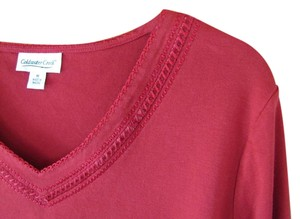 Coldwater Creek 3/4 Sleeves Medium 100% Cotton Top Red