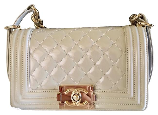 Item - Boy Iridescent with Gold Hardware Pearl Grey Patent Leather Cross Body Bag