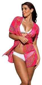 UjENA Ujena Paisley Passion Robe Swimsuit Cover Up D502 Pink Sheer Adjustable Front