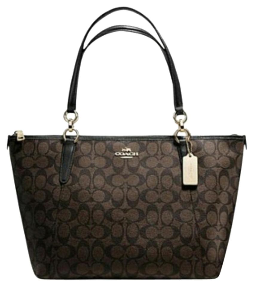 special price for latest selection of 2019 pretty cool Coach Ava Chain Brown and Black Coated Canvas Tote 49% off retail