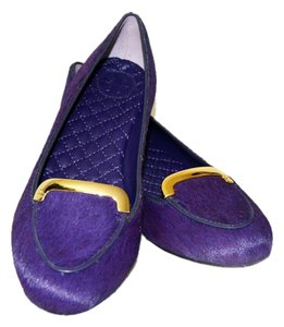 Tory Burch Leather Pony Hair Purple Flats