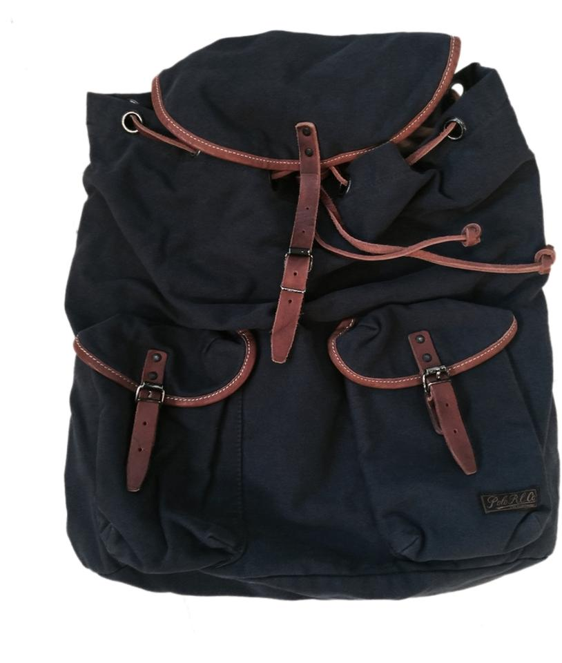 Polo Ralph Lauren Navy Canvas Learther Backpack - Tradesy b4598d36897e2