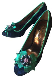 Poetic License Jeweled Navy Suede Green Accent Pumps