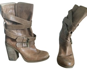 Jessica Simpson Leather Boot Chunky Caramel Tan Boots